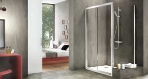 Minimalist bedroom and bathroom with shower and classic Scandinavian interior design