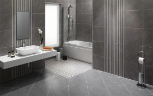 Modern grey bathroom with shower and bath, stone tiles, rectangular, white basin