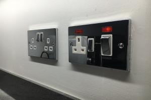 A close up image of wall sockets.