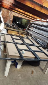 A picture of displaying steel framing manifacturing.